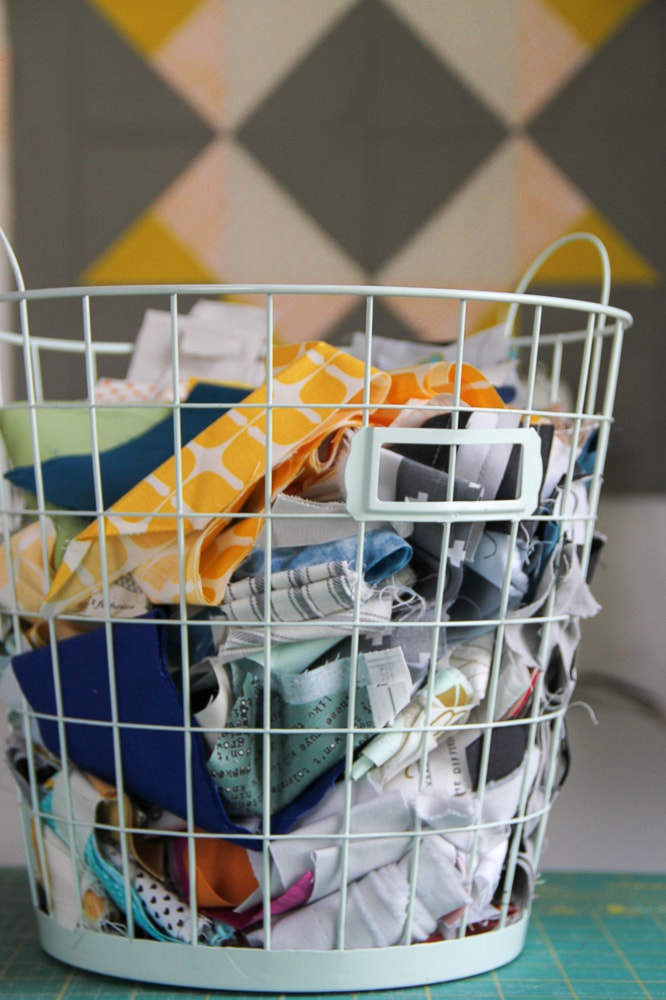Basic Quilting Supplies - a bin for saving scraps. villageboundquilts.com