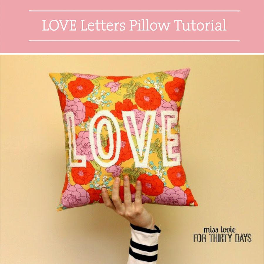Valentine DIY Round Up: LOVE Letters Pillow. villageboundquilts.com