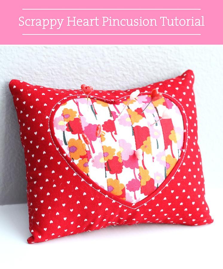 Valentine DIY Round Up: Scrappy Heart Pincushion. villageboundquilts.com