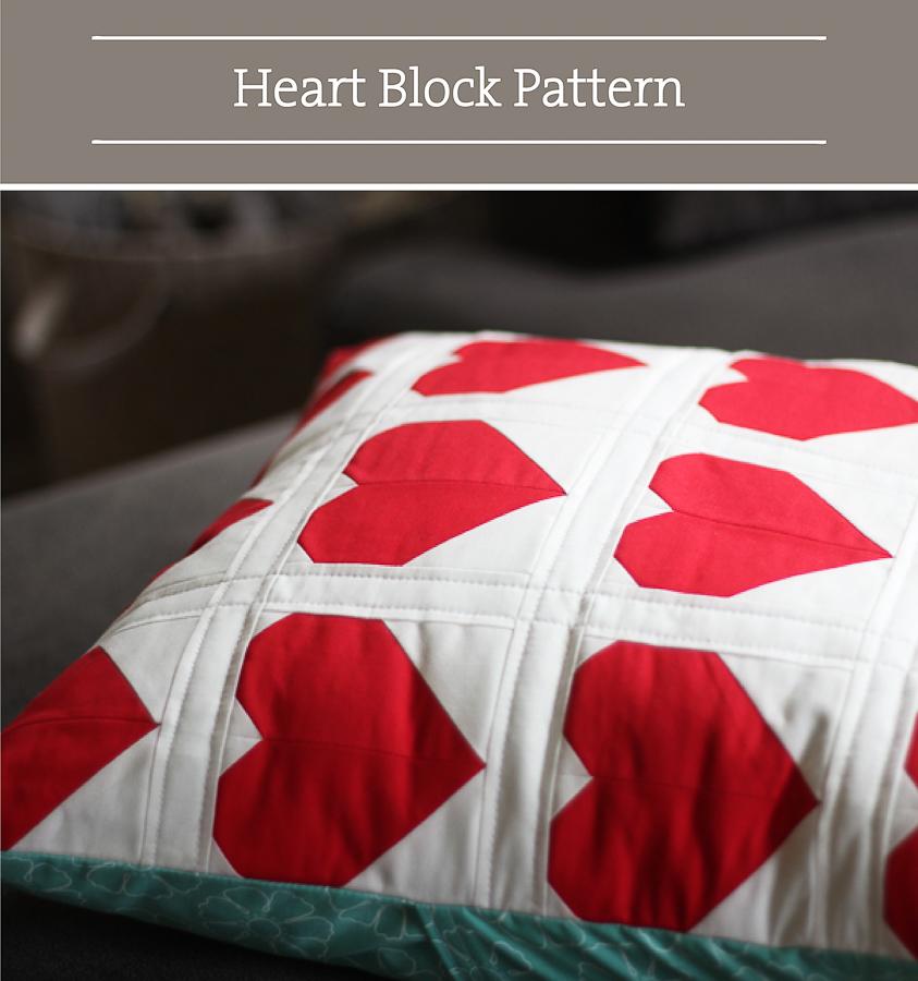 Valentine DIY Round Up: Heart Block Pattern. villageboundquilts.com