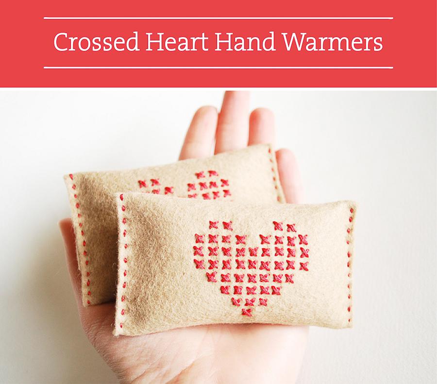 Valentine DIY Round Up: Crossed Heart Hand Warmers. villageboundquilts.com