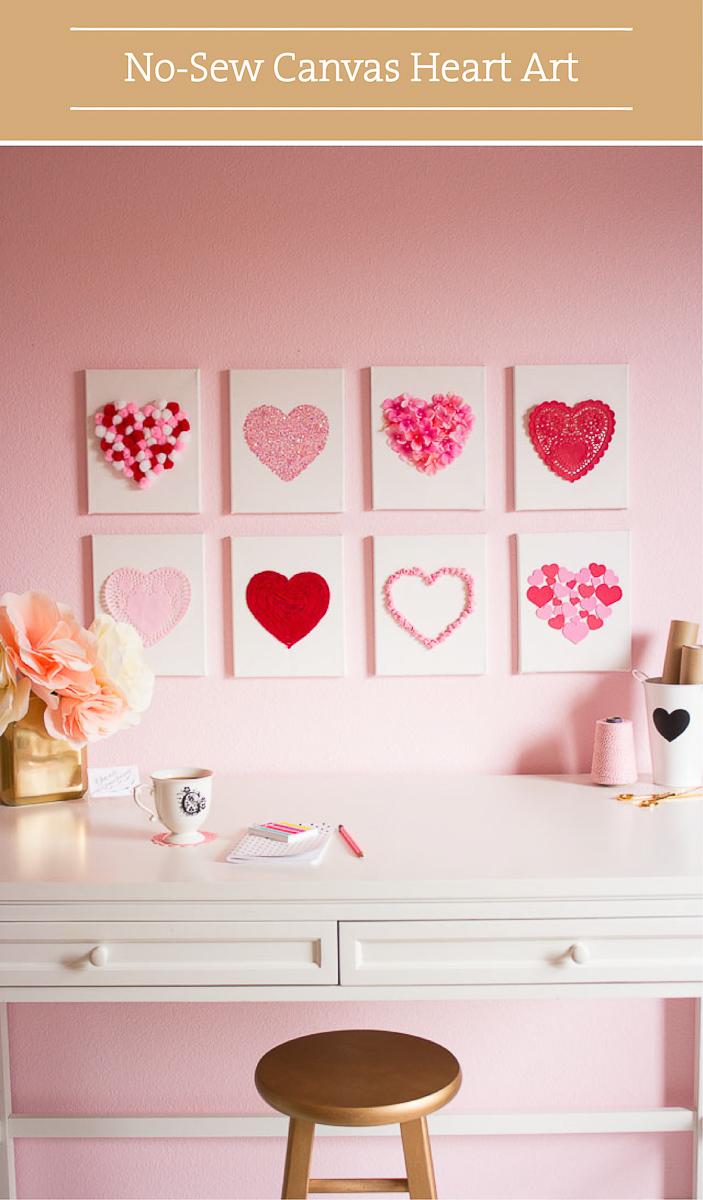 Valentine DIY Round Up: No Sew Canvas Heart Art. villageboundquilts.com