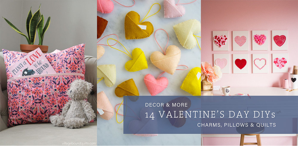 Valentine DIY Round Up: Simple, free projects to sew yourself. villageboundquilts.com