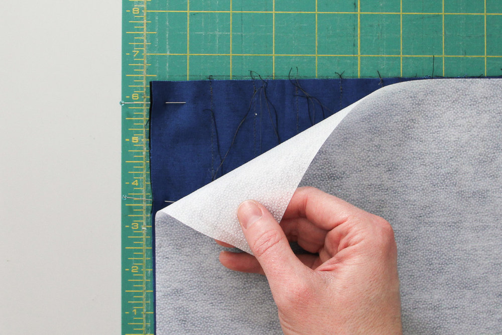 If using interfacing, attach it to the wrong-side of the outer pocket piece, securing the pocket threads in between.