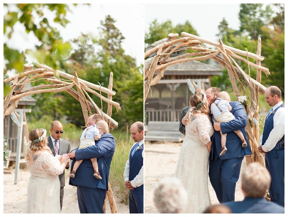 Harrison hid in his dad's shoulder the entire ceremony. He popped up during the first kiss and notice everyone looking and decided dad's shoulder was safer! Haha! 😊