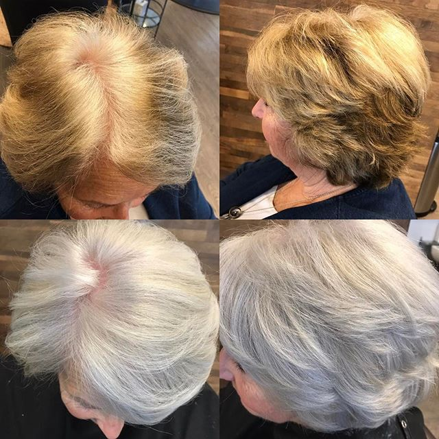 Loved liberating this beautiful client! #tiffanyconcklin #jkryansalon #alfaparfcolor #harmonizers #pigments #silverhair #colorcorrection #lovemyjob #shewasreadybutnervous #sohappy
