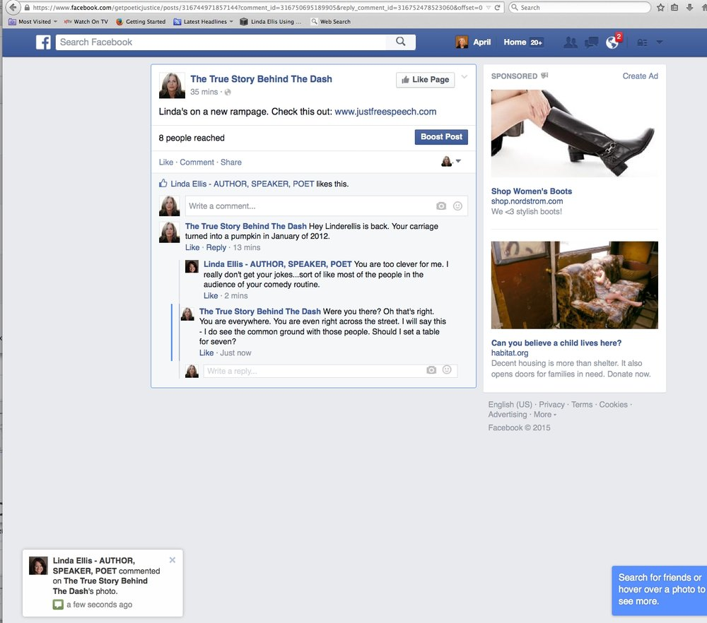 Linda Ellis created www.justfreespeech.com. the website is an attack on April Brown's character, charity and business. Get the facts visit: www.getpoeticjustice.com .