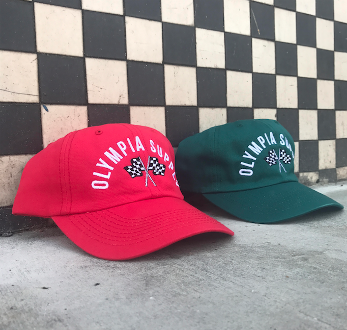 "New ""Speedway"" Unstructured 6-Panel strap back hat.  Available in red & spruce."