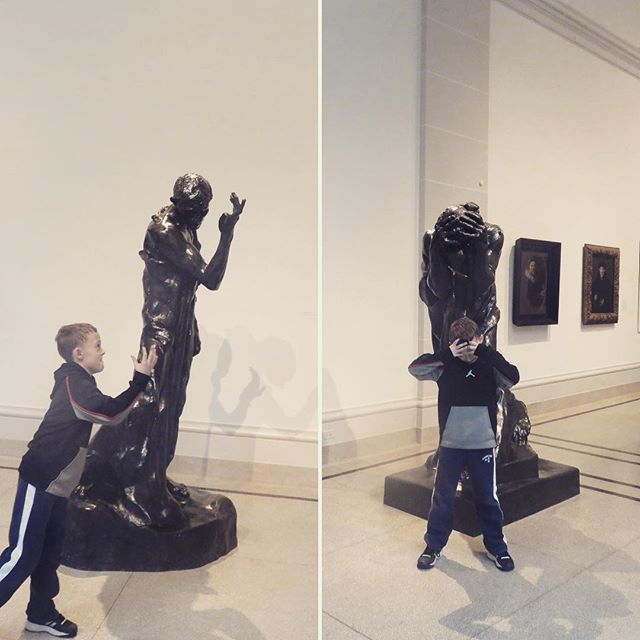 Life imitates art #rodin #timetravelkidsnyc #brooklynmuseum