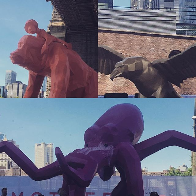 Beautiful day in Brooklyn Bridge Park #timetravelkidsnyc #publicart #protectlikeamother