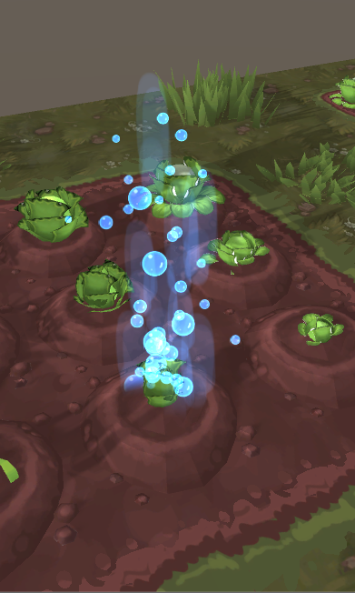 The new watering effect, this appears when you use your watering can