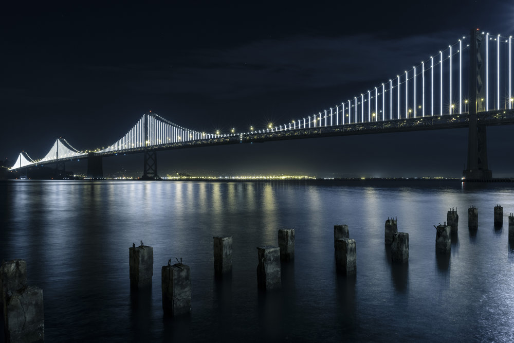 The Bay Lights by artist Leo Villareal. Photo by James Ewing.
