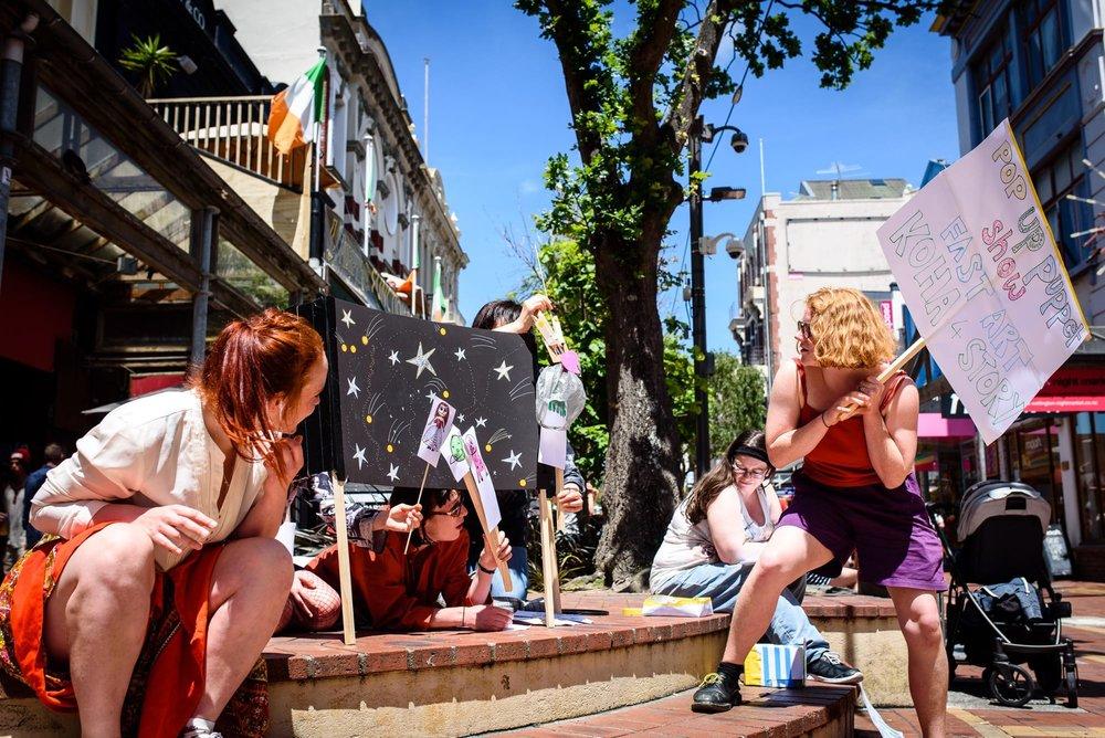 Fast Art puppet show on Cuba Street