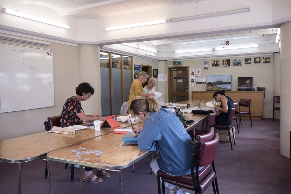 Art class in the Community Room