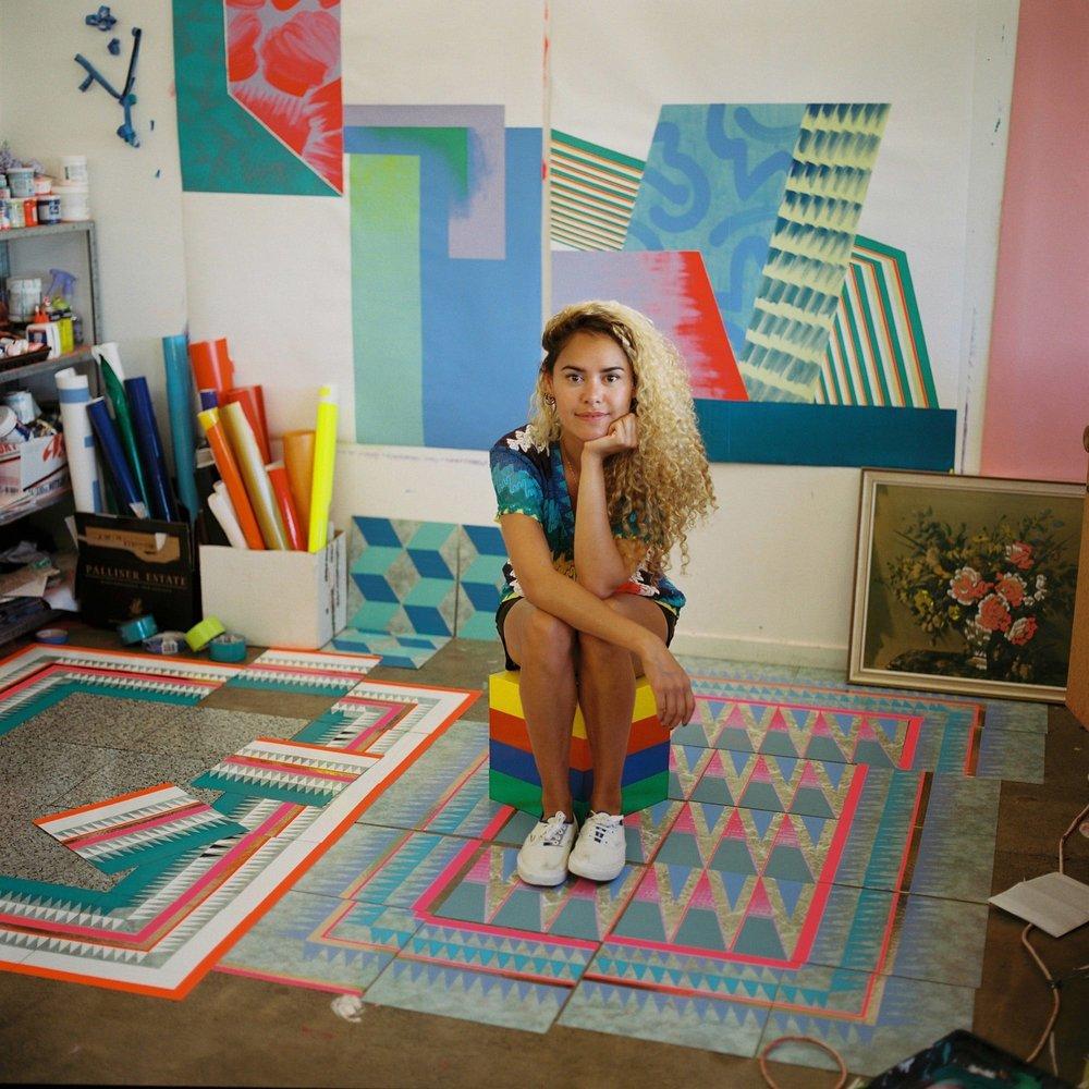 Artist Jade Townsend in one of Toi Pōneke's studios