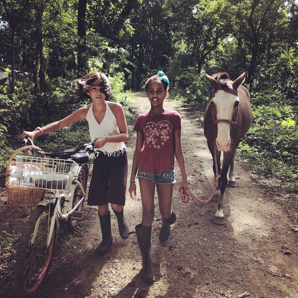 馬を連れて、友達とピクニックへいく娘。写真の真ん中の黒人の女の子キアは、 一年間の「世界の学びの旅 」を終えて、コスタリカに到着したばかり。「教育」や「子供の育つ環境」ということについて、とても柔軟に斬新に考えている親が、ここコスタリカのノサラにはとても多いのです。ホームスクーリングをしている仲間も、たくさんいます。