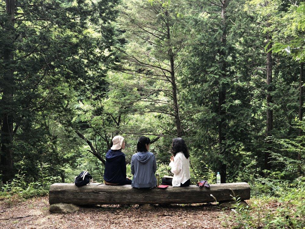 森の中のシェアリング・タイム。自然の中で過ごすだけで、それだけで整いますね。