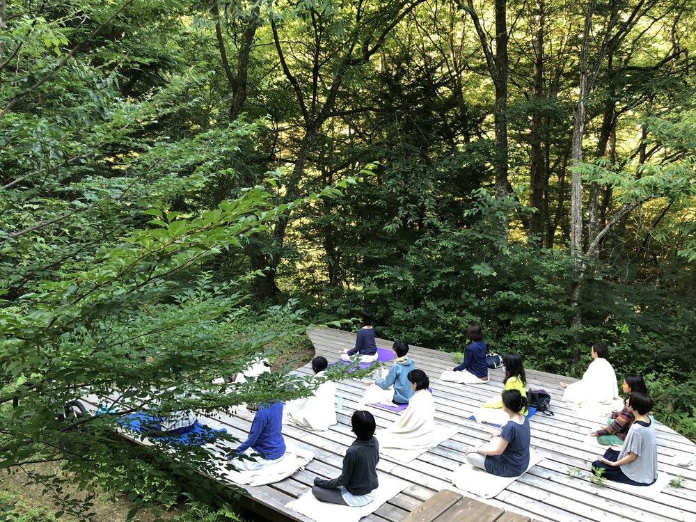 スタートは、午前6時の朝の瞑想から。森の中の新鮮な空気を吸い込み、肺を広げながら、呼吸を一つずつ味わうプラクティス。太陽が少しずつ木々の間を抜けて、光を届けてくれた。