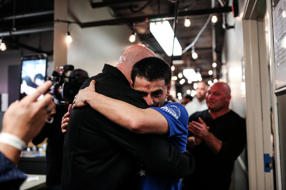 Morales embraces UFC President Dana White after getting signed post-win at CFFC 64