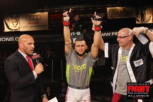 Luis Raul Gomez gets his hand raised at a Fight Time Promotion event