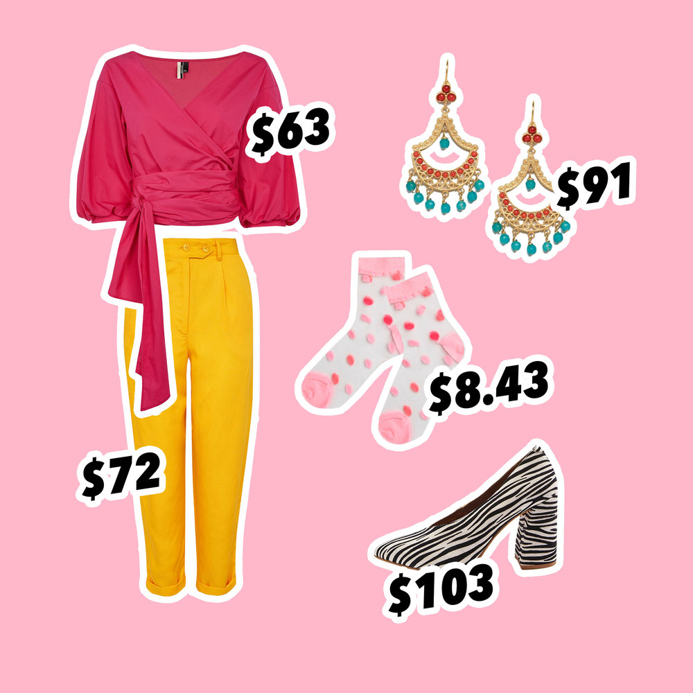 Mensy Peg Trousers  £39.00,  Puff Sleeve Poplin Wrap Top  £34.00, GINA V-Cut Flare Block Heel Court Shoes £56.00  Ottoman Hands Exclusive Statement Beaded Drop Earrings  NZD$ 90.87