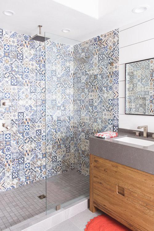 Spanish resort style master bath remodel