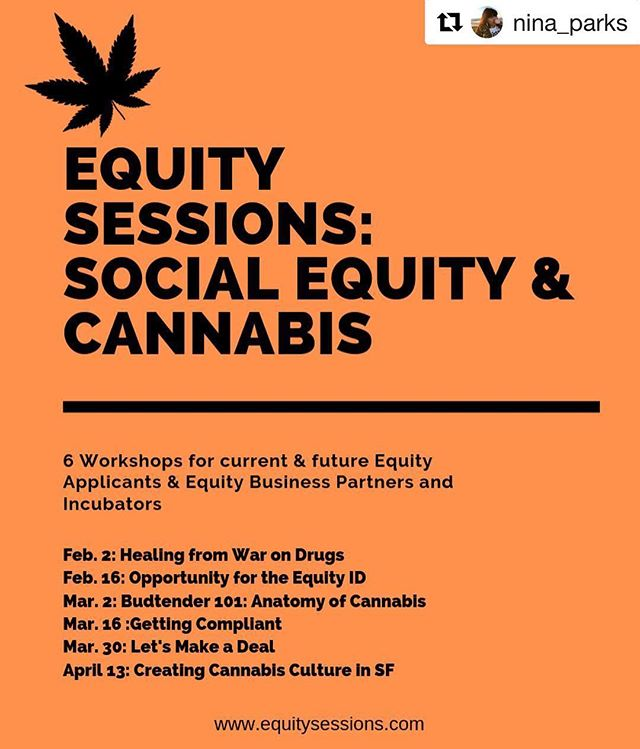We are proud to be assisting the SF Cannabis Equity Working Group with data collection/analysis and well as with the implementation of Equity Sessions! Follow @equitysessions for updates! #Repost @nina_parks with @get_repost ・・・ ATTENTION PLEASE SHARE: Tickets are finally available for @equitysessions a series of 6 workshops over a 12 week period designed for Cannabis Equity Applicants & business partners looking to gain a stronger understanding of how to navigate the regulated cannabis industry. + Thanks to our industry sponsors @meadow.sf Green Cross @flowertothepeople_sf @eaze we are able to provide scholarships for Equity Applicants with Equity ID's to attend for FREE. We are still taking Industry Sponsorship. + General Admission is $100 tickets can be found in the @equitysessions link + #EquityNow #EquityEducation #CannabisEd #CannaEd #CannabisCommunity #Weed #HigherLearning #alternativeeducation #alwaysastudent #equitysessions #equalitythrueducation