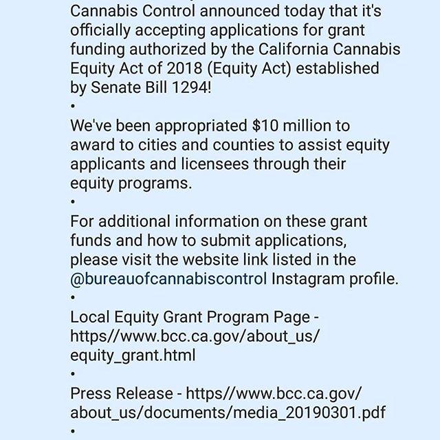 #Repost @bomoney27 with @get_repost ・・・ STATE OF CALIFORNIA BUREAU OF #CANNABIS CONTROL ANNOUNCES 10 MILLION SOCIAL EQUITY FUND #BCC #NDICA #SOCIALEQUITY #SOCIALJUSTICE www.thendica.org @thendica18 #nationaldiversityandinclusioncannabisalliance