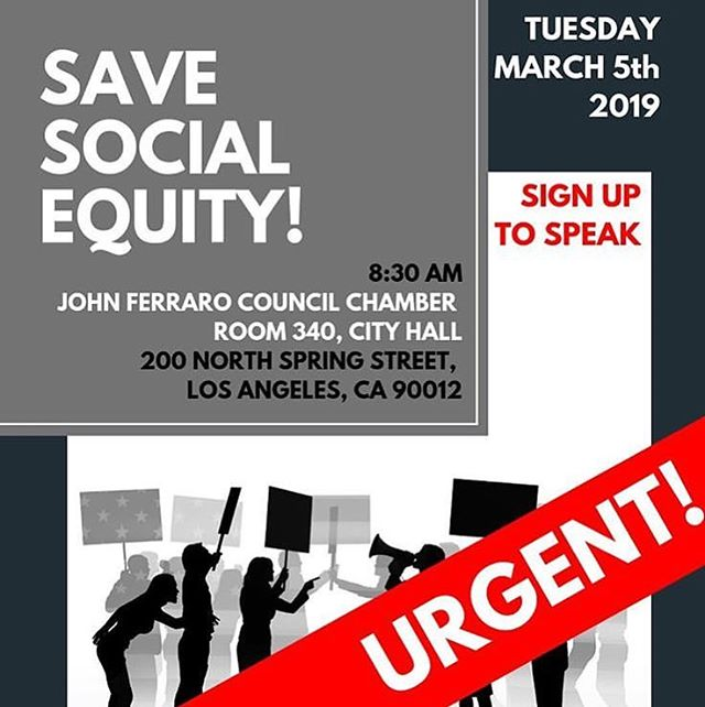 ATTN LOS ANGELES! These are crucial times for cannabis equity! #Repost @cagefreecannabis with @get_repost ・・・ Los Angeles!!! The social equity program is under attack. You can help save it by showing up at City Hall tomorrow at 8:30am and speaking out. • Join @cannabis_advocates @equityfirstalliance @thendica18 @greenbelievers @latinosforcannabis @freewayricky @thesocialimpactcenter and other advocates as we call for equity program funding, community reinvestment, and an equitable process for equity applicants. • #losangeles #la #dtla #cityhall #cannabis #cannabiscommunity #socialequity #shenanigans #socialjustice #endthewarondrugs #massincarceration #california #prop64 #drugpolicy #marijuana #equity #justice #repair