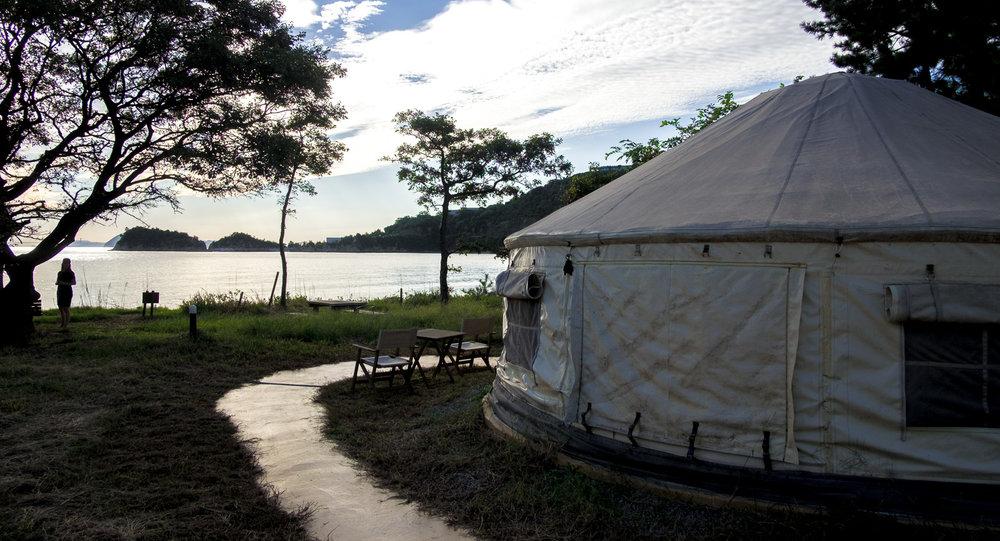Yurts on Naoshima Island, Tsutsujio Lodge
