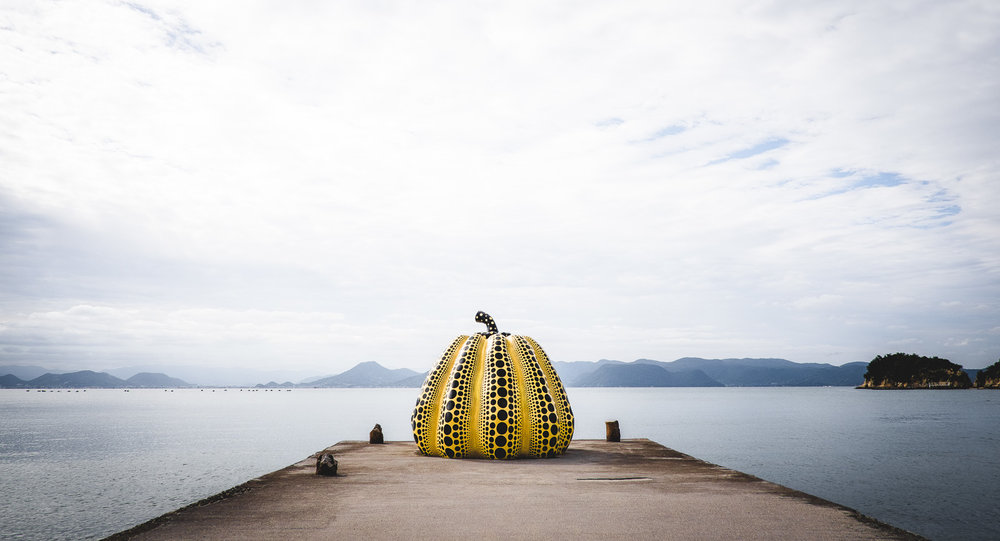 Yayoi Kasuma's yellow pumpkin, Naoshima