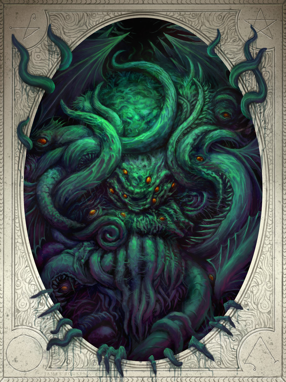 """""""In his house at R'lyeh dead Cthulhu waits dreaming."""" - H.P. Lovecraft Done in Photoshop CS6"""