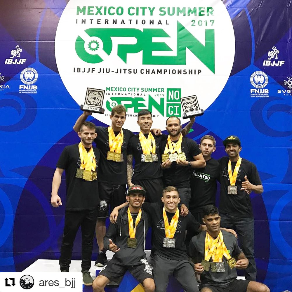On September 9th, we came with 10 athletes to Mexico to compete the IBJJF Mexico City Open and we were able to take third place overall for Gi and Nogi. Something that would be hard to imagine if it wasn't for the amazing performance of everyone with a total of 24 medals!! We will hang these trophies in our gyms, put the medals in our closets, but the time we spent together as a family, the memories and support we gave each other will be with us forever! Thank you guys for being our family, thank you for being Ares BJJ. Up next is Atlanta Open Sept 23/24 and we have an army repressing our team! Osss   #AresBJJ #AresBJJAssociation #AresBJJFamily #BJJ #JiuJitsu #WeAreAres #kennykimbjj