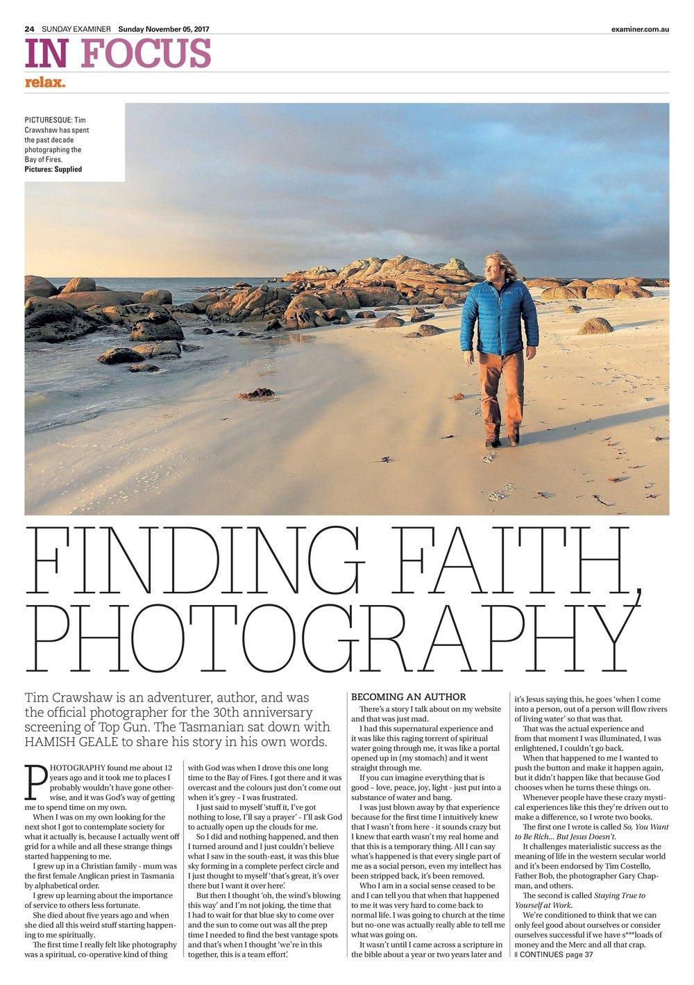 Tim Crawshaw Sunday Examiner Article November 2017. P.1.jpg