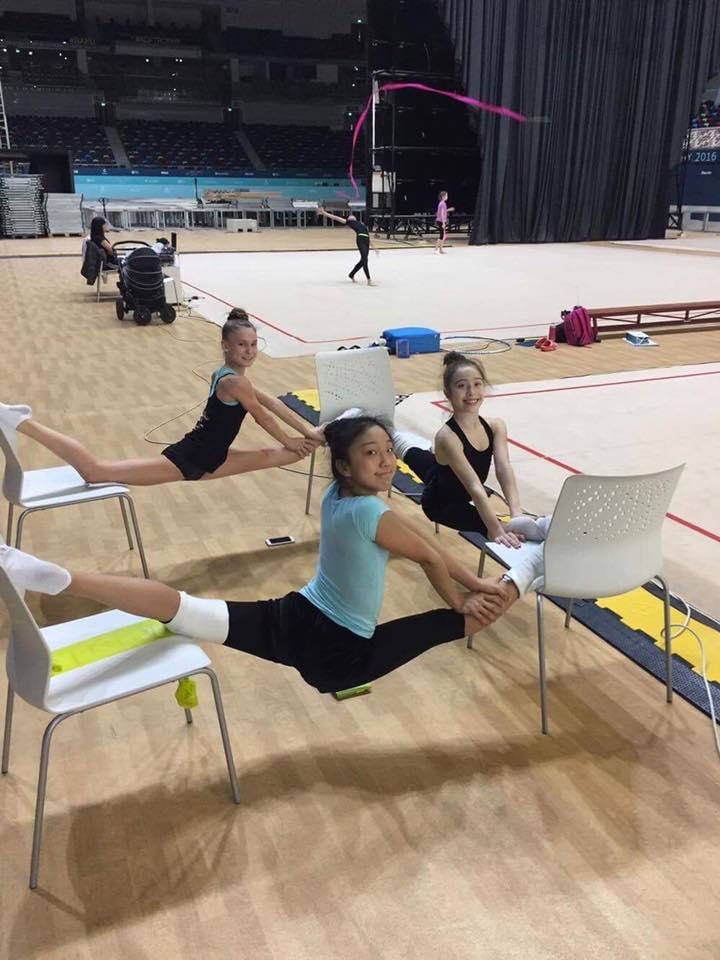 Joy, Sienna, and friend at the European Training camp in Baku, Azerbaijan