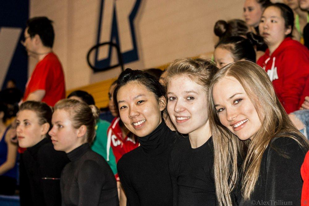 Kalev alumni  Esther Chi , Sasha Lukashova and  Katriina Isberg at  Koop Cup International 2014 .