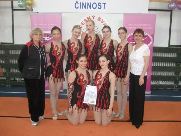 Carolyn Rotenberg ,  Esther Chi ,  Natasha Art , Stephanie Koop ,  Dasha Lukashova ,  Michelle Kus h, Evelyn Koop, and Coach Alla at the World Cup in Czech Republic