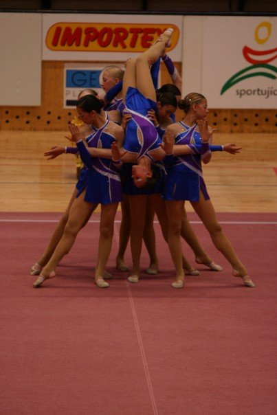 Starting pose from Falling Angels AGG routine, Czech Republic 2014 World Championships