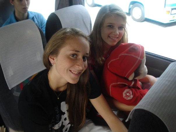 Kalev gymnasts  Rosie Cossar  and   Sasha Lukashova  on a bus in Japan