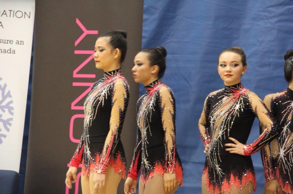 Kalev Gymnasts Leila Keshavjee,Iantha Chowand Blanche Lu-Sullivan.