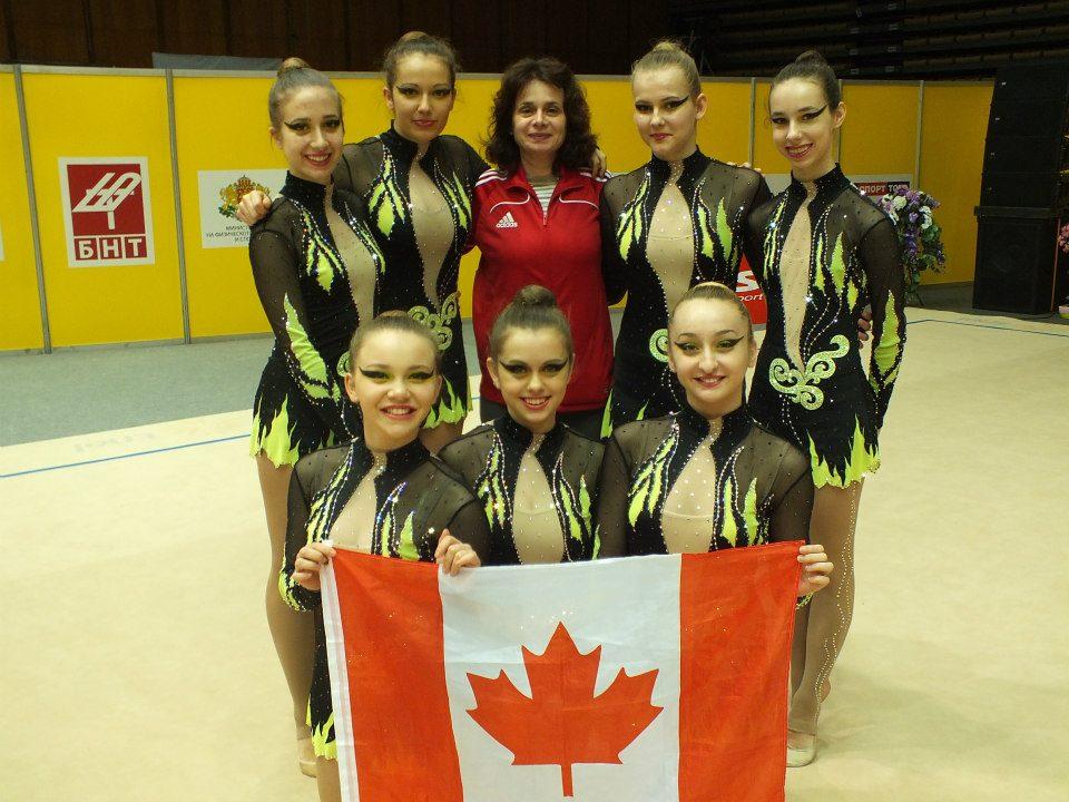 Victoria Gimelfarb , Ana Kalo , Blanche Lu-Sullivan , Keren Plotnikov , Sara Romanyuk and  Laura Christine T competing in Sofia, Bulgaria