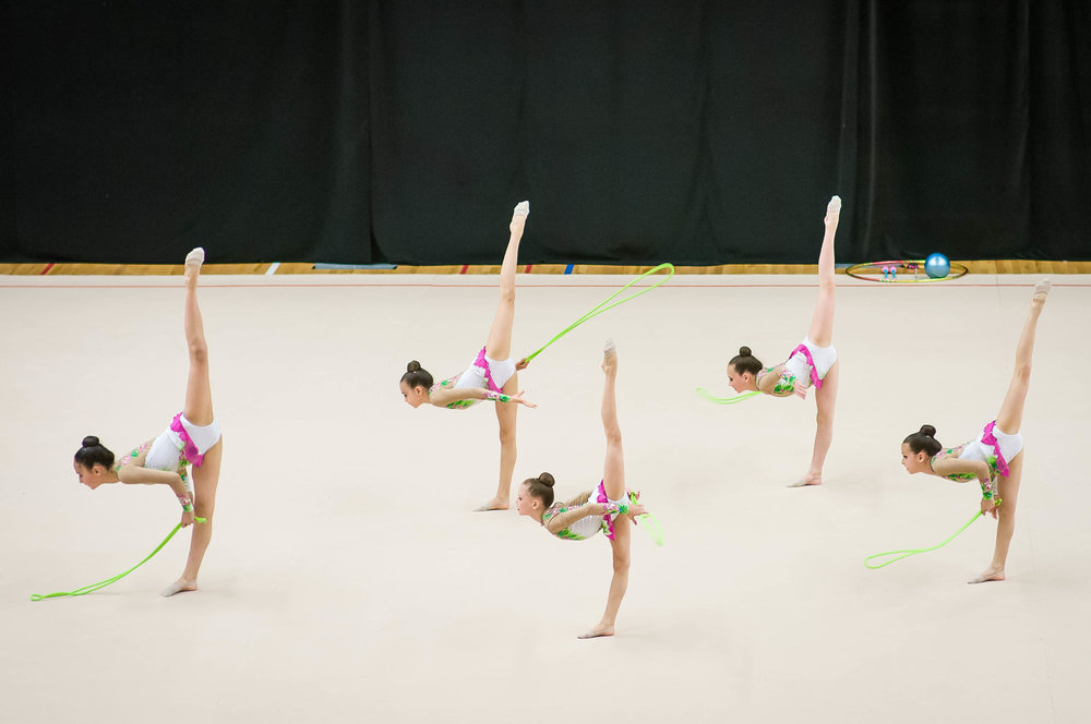 Gymnasts competing