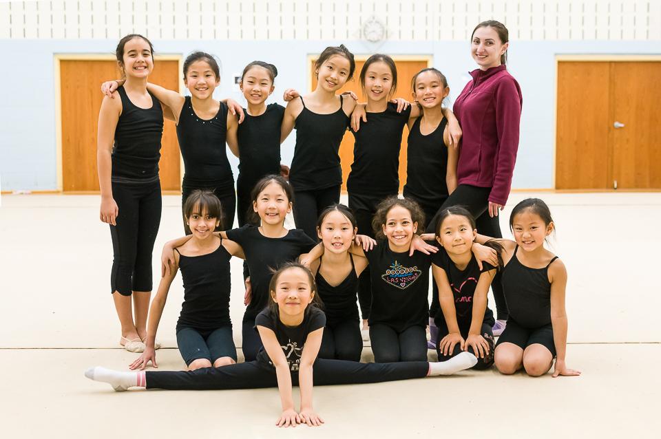 Tonya and gymnasts at training