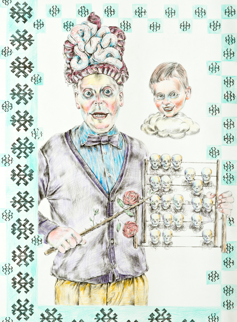 Büyü de Büyü V, 70x50cm , Ink Pen And Colored Pencıl On Paper, 2014  (Private Collection)