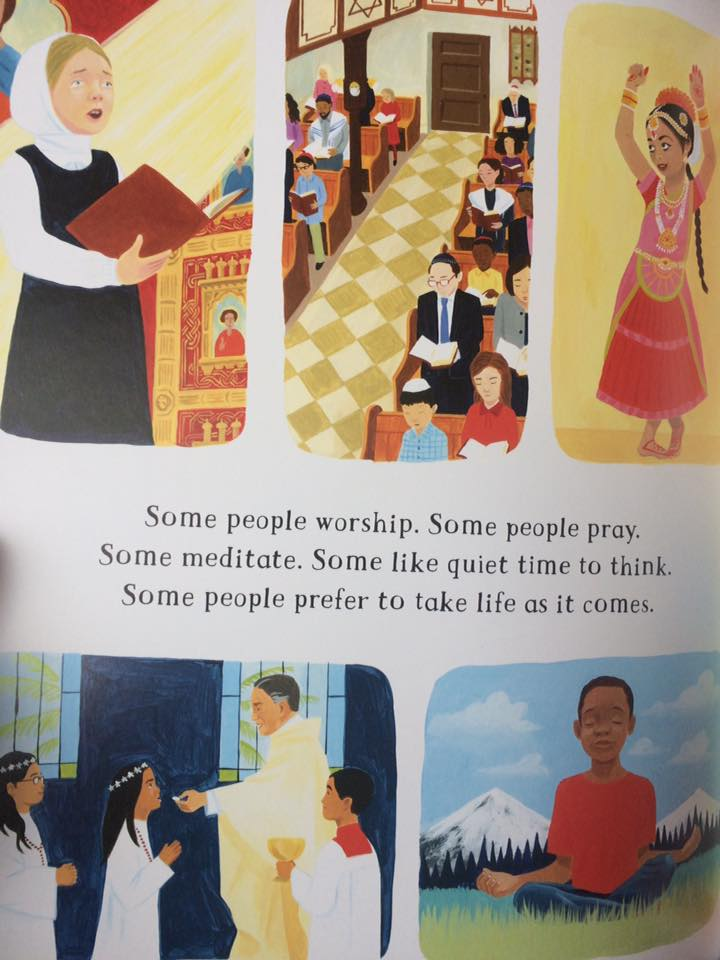 Illustration from The Barefoot Book of Children showing acceptance of all religions.