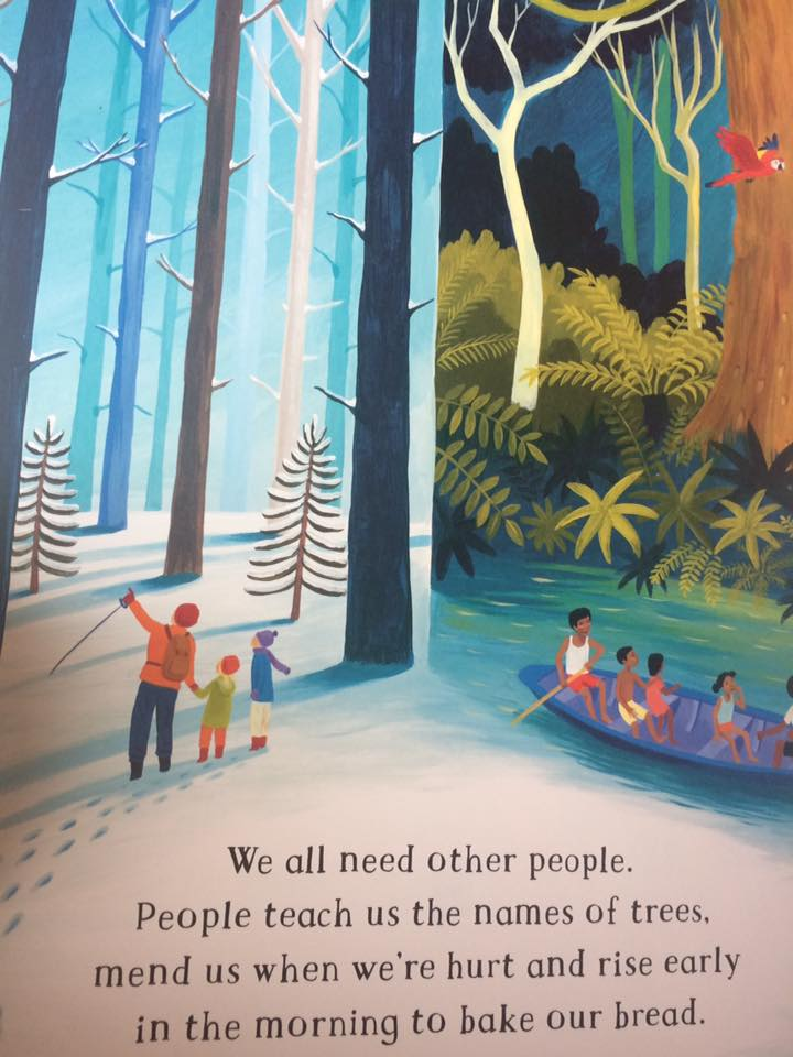 One of my favorite illustrations from The Barefoot Book of Children, teaching the value of community and helping one another.