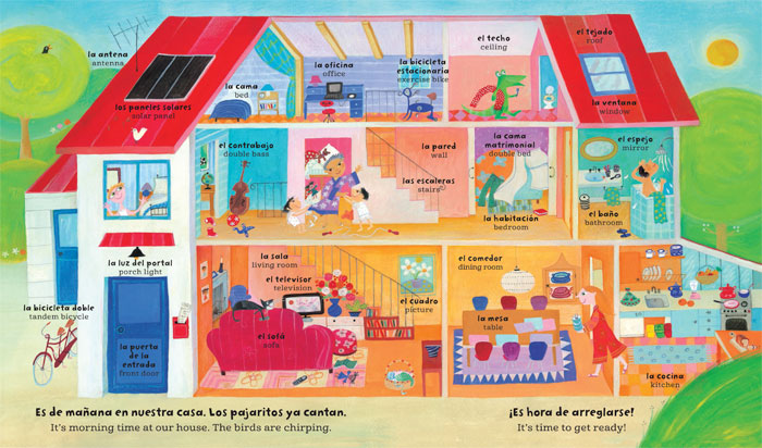 Bilingual Spanish/English illustration from Barefoot Books' My Big Barefoot Book of Spanish Words