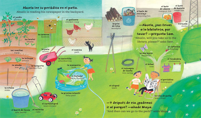My Big Barefoot Book of Spanish and English Words save the earth garden illustration