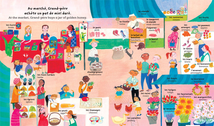 My Big Barefoot Book of French and English Words, illustration from bilingual children's literature of an outdoor market