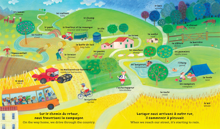 Bilingual children's literature, illustration from My Big Barefoot Book of French and English Words, featuring seek-and-find images of the countryside
